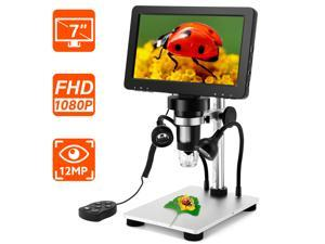7 inch Coin Microscope, Elikliv 1080P LCD Digital Microscope with Wired Remote,1200X Magnification Handheld Microscope with Video Recorder for Coin Outdoor Observation PCB Repair