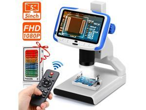 5 inch LCD Digital Microscope 1080P Microscope Video Recorder 200X Magnification with Wireless IR Remote, 8 LED Lights,Sample Slides, 2M Camera Microscope for Kids Education Play