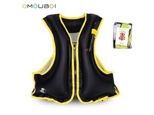 Adult Inflatable Swim Life Vest Jacket Snorkeling Floating Device Swimming Drifting Surfing Survival Water Sports Life Saving BLACK