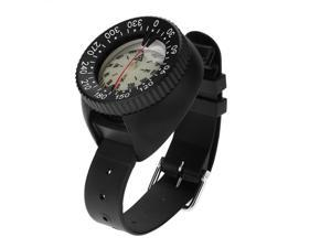 50m Waterproof Compass Underwater Caving Camping Swimming Compass with Wristband Diving Scuba Watchband Fluorescent Dial Compass BLACK