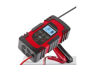 12V 24V 4A 6A 8A Full Automatic Car Battery Charger Power Pulse Repair Chargers Wet Dry Lead Acid Battery-chargers Digital LCD Display RED