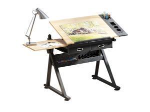 Height Adjustable Drafting Draft Desk Drawing Table Desk Tabletop Tilted Art Craft Work Station w/ 2 Storage Drawer
