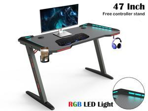 Gaming Desk 47'' Z Shaped Large PC Computer Gaming Desks Tables with RGB LED Lights Controller Stand for E-Sport Racing Gamer Pro Home Office Gift