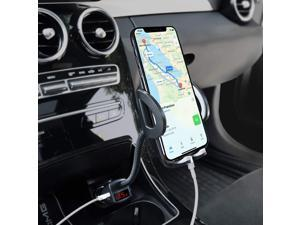 Phone Holder for Car, Adjustable 4 in 1 Car Phone Mount Cigarette Lighter Cell Phone Car Mount with Dual Port USB Charger Compatible iPhone 11 X 8, iPad, Galaxy S9 S8, Mate20 P30, GPS and More