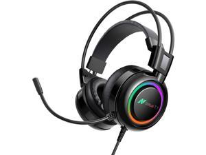 Gaming Headset for PS4, PC, Laptop, PS4 Gaming Headset with Noise Canceling Microphone 7.1 Virtual Surround Sound, Gaming Headphones with Bass Vibration, RGB LED Lights, On Ear Controller