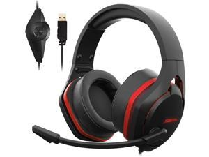 V22 Gaming Headset for PC- Strong Bass Virtual 7.1 Sound- USB Headphones with Noise Cancelling Microphone RGB Lights Plug & Play for Laptops Computers