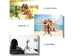 Selfie Stick & Tripod , Integrated, Portable All-In-One Professional, Heavy Duty Aluminum, Lightweight, Bluetooth Remote For Apple & Android Devices, Non Skid Tripod Feet, Extends To 51, Black