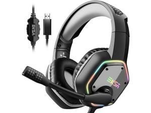 Gaming Headset with 7.1 Surround Sound Stereo, PS4 USB Headphones with Noise Canceling Mic & RGB Light, Compatible with PC, PS4 Console, Laptop (Gray)