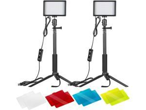 2 Packs Dimmable 5600K USB LED Video Light with Adjustable Tripod Stand/Color Filters for Tabletop/Low Angle Shooting, Colorful LED Lighting, Product Portrait YouTube Video Photography