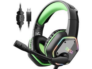 7.1 USB Gaming Headset - Surround Stereo Sound - PS4 Headphones with Noise Canceling Mic & RGB Light Over Ear Headphones, Compatible with PC, PS4 Console, Laptop (Green)