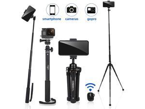 63 Tripod, Premium Phone Tripod, Portable All-in-One Professional Camera Tripod, Lightweight Aluminum, Bluetooth Remote for iPhone & Android Devices, Non Skid Tripod Feet