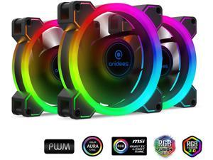 anidees AI Aureola Duo 80mm 3pcs RGB PWM Dual Light Loop Fan Compatible with 5V 3pins addressable RGB Header, for PC case Fan, Cooler Fan, w/Remote(AI-AR-DUO8)