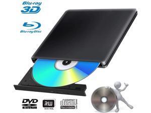 External 4K 3D Blu Ray DVD Drive Burner, Portable Ultra Slim USB 3.0 Blu Ray BD CD DVD Burner Player Writer Reader Disk for Mac OS, Windows 7/8.1/10 /Linxus, Laptop, PC (Black)