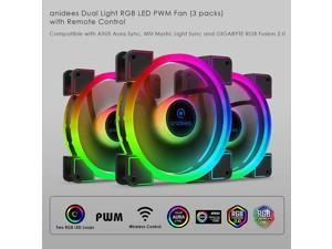 anidees AI Aureola Duo 120mm 3pcs RGB PWM Dual Light Loop Fan Compatible with 5V 3pins addressable RGB Header, for PC case Fan, Cooler Fan, w/Remote(AI-AR-DUO12)