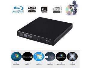 Xglysmyc USB2.0 External Blu Ray CD DVD Drive Burner,Slim Portable CD DVD RW BD-ROM Player Writer for Laptop Desktop Notebook Support Mac OS Windows XP/7/8/10 (Black)