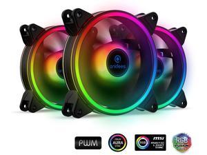 anidees AI Tesseract Duo 120mm 3pcs RGB PWM Fan Compatible with ASUS Aura SYNC/MSI Mystic/GIGABYTE Fusion MB with 5V addressable RGB Header, for case Fan, Cooler Fan, with Remote(AI-Tesseract-Duo)