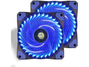 120mm PC Case Cooling Fan Super Silent Computer LED High Airflow Cooler Fans - Blue (2 Pack)
