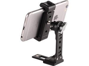 Metal Phone Tripod Mount with Cold Shoe,360 Rotation Phone Tripod Holder Adapter,Desktop Cell Phone Stand, Compatible with iPhone Sumsung Smartphone,Cell Phone Clamp,Video Rig Mount
