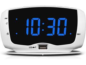 Digital Alarm Clock Radio Fm Radio 14 Inches Large Led Number Display Dual Usb Charging Ports 35 Mm Headphone Jack Snooze Dst Sleep Timer White Case Blue Digits Newegg Com