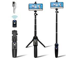 Portable 48 Selfie Stick & Tripod, All in One, Lightweight Aluminum, FaceTime, Video Teaching, Bluetooth Remote for iPhone 11/Xs MAX/XR/XS/X/8/8 Plus/7/7 Plus/6s,Galaxy S10/S9/S9 (Black)