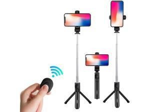 Selfie Stick Tripod, Lightweight Aluminum All in One Extendable Phone Tripod Selfie Stick Bluetooth with Detachable Wireless Remote for iPhone 11/Xs MAX/XR/XS/X/8/8 P/7,Galaxy,Huawei,More