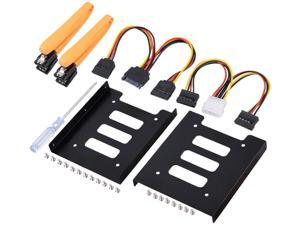 2.5 Inch SSD to 3.5 Inch Internal Hard Disk Drive Mounting Kit (SATA Data Cables and Power Cables Included) (2 x Bracket Conversion Frame)