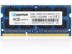 PC3-8500, 1066 DDR3, ROYEMAI 4GB DDR3 2Rx8 DDR3 Ram DDR3 Notebook Computer RAM Memory for iMac 20 inch /21.5 inch/24 inch /27 inch, MacBook Pro 13 inch/ 15 inch/ 17 inch, Mac Mini 2009 2010