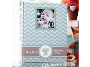 Baby Memory Book - Newborn Journal - Baby First Year Book Album - Baby Shower Book Gift - Baby Keepsake Milestone Memory Journal - First Year Newborn Baby Boy Girl Book (Teal Blue)