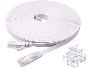 High Speed White LAN Cable with Clips /& Straps Cat 6 Flat Ethernet Cable 200 ft White Long Internet Cable with rj45 connectors