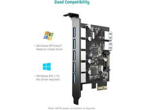 Superspeed 7 Ports PCI-E to USB 3.0 Expansion Card with 15-Pin SATA Power Connector - PCI Express(PCIe) Expansion Card USB Card for Desktop PC Support Windows 10/8.1/8/7/XP