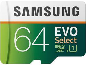 Samsung EVO Select 64GB microSDXC UHS-I U1 100MB/s Read Full HD & 4K UHD Memory Card with Adapter (MB-ME64HA)