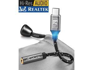 USB C to 3.5mm Headphone Adapter AuxLink Hi-Fi Pro 384KHz/32Bit USBC Portable Headphone Amplifier DAC USB Type C to AUX 3.5mm TRRS Female Adapter