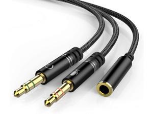 Mic Headphone 3.5mm Stereo 1PC For PC Audio Splitter Female To Male Cable