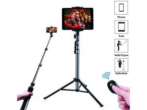 """Selfie Stick Tripod,  51"""" Extendable Tripod Stand with Universal Phone/Pad Clip, Remote Shooting Compatible with iPhone & Android Devices, Phone Tripod for Video Shooting, Vlog, Selfie"""
