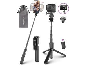 Selfie Stick Tripod Lightweight Aluminum All in One Extendable Selfie Stick Bluetooth with Remote Compatible with iPhone 11/11PRO/XS Max/XS/XR/8P/7P Galaxy S20/S10/S9S8 Gopro Small Camera