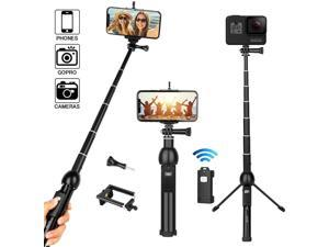 Selfie Stick Tripod All-in-One 45 Extendable Phone Tripod Stand Selfie Stick with Wireless Remote Compatible for iPhone 11 Pro XS Max XR X SE 8 7 6S Plus Android Samsung Galaxy S10 S9 OnePlus Gopro
