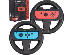 Nintendo Switch Steering Wheel Twin Pack for Mario Kart 8 Deluxe Nintendo Switch Mariokart Switch Steering Wheel (Joycon Controller Attachment Accessories) (2X Black Wheels)