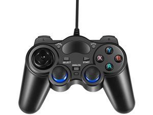 PC Game Controller Joystick with Dual-Vibration Turbo and Trigger Buttons for Windows & Android & PS3 & TV Box (Black)