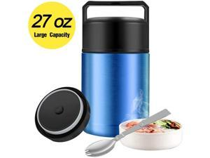 Food Thermos27oz Wide Mouth Soup Thermos for Hot Food with Folding SpoonInsulated Food JarLeak Proof Soup ThermosStainless Steel Vacuum Lunch Container Flask Bento Box for Kids Adult (Blue)