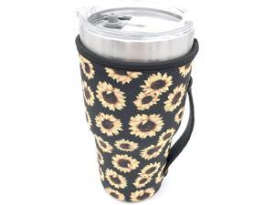 Reusable Iced Coffee Cup Sleeve Neoprene Insulated Sleeves Cup Cover Holder Idea for 30oz - 32oz Tumbler Cup Trenta Starbucks Large Dunkin Donuts (Only Cup sleeves) (Sunflower)