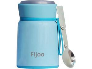 Best Stainless Steel Soup Thermos Food Jar Folding Spoon -Triple Wall Vacuum Insulated - Hot Soup & Cold Meals Storage Container Jar - Kids School Lunch No Leaks BPA Free (Blue 17.8 OZ / 530 ML)