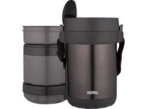 THERMOS All-In-One Vacuum Insulated Stainless Steel Meal Carrier with Spoon Smoke