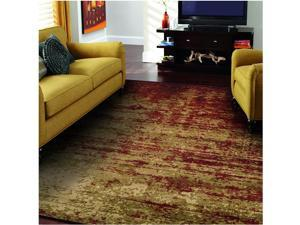 Modern Afton Acid Wash Collection Area Rug 10mm Pile Height with Jute Backing Vintage Distressed Design Anti-Static Water-Repellent Rugs - Auburn 4 x 6 Rug