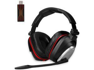Wireless Gaming Headset for PC PS4 Switch with 7.1 Surround Sound Deep Bass- Rotating Metal Ear Cups
