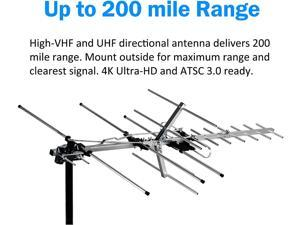 TV Antenna Indoor/Outdoor Yagi Satellite HD Antenna with up to 200 Mile Range - Attic or Roof Mount TV Antenna, Long Range Digital OTA Antenna for 4K 1080P with Mounting Pole
