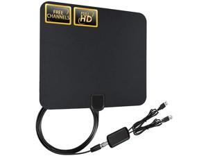 [2020 Latest]? TV Antenna Amplified Digital HDTV Antenna with Free 4K 1080P HD VHF UHF Local Channels 80 Miles Range with Signal Amplifier 17ft Coax Cable
