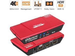 TESmart Ultra HD HDMI Splitter 1 x 2 4K 3840x2160@ 60 Hz 1 in 2 Out HDMI Splitter Dual Monitor Duplicating Video Audio Distributor Box Support Full 3D HDR 10 HDCP 2.2 18 Gbps
