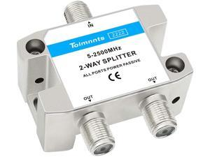 Tolmnnts Coaxial Cable Splitter 5-2500MHz,Work with CATV, Satellite TV,Antenna System and MoCA Configurations (2way)
