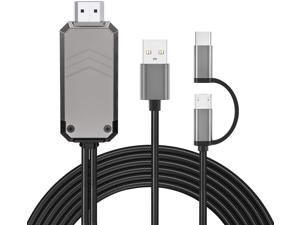 Renkchip 2-in-1 Micro USB/Type C to HDMI Cable for All Android Phone��6.6ft MHL to HDMI Adapter 1080P HD HDTV Mirroring &Charging Cable to TV/Projector/Monitor