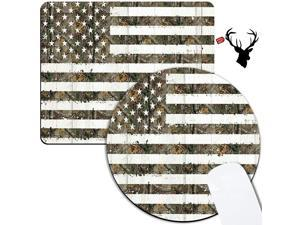 Gaming Mouse Pad 2 Pack with Deadwood Flag Pattern Mouse Mat Non-Slip Rubber Base Cute Mousepads for Laptop Accessories Desk Computers Office Wireless Mouse and Black Deer Stickers